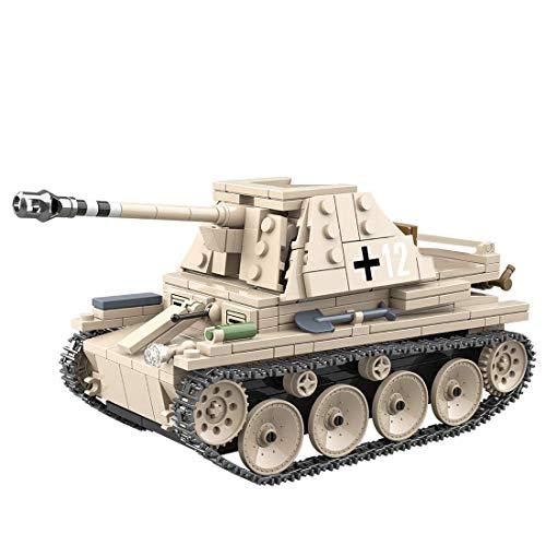 Kit de modelo de tanque, 608 piezas de juguete de tanques del ejército para construir para niños, niñas, niños y adultos, pequeño bloque de construcción compatible con LEEGO - WEASEL III antitanque