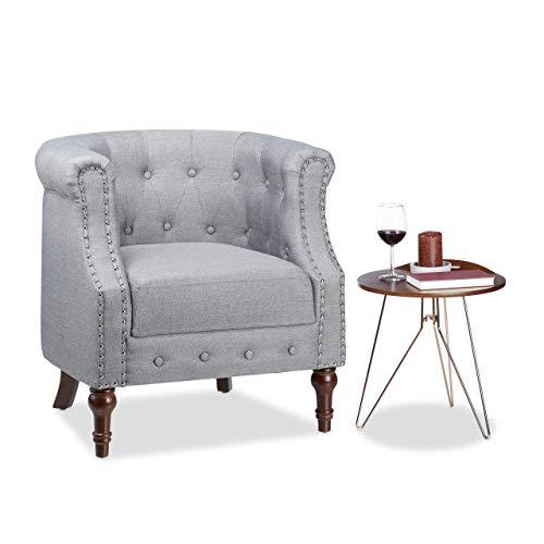 Relaxdays, grau Retro Sessel, Chesterfield-Design, Stoffbezug, Nietenbesatz, bequemes Sitzpolster, HxBxT: 76x71x67cm, Standard
