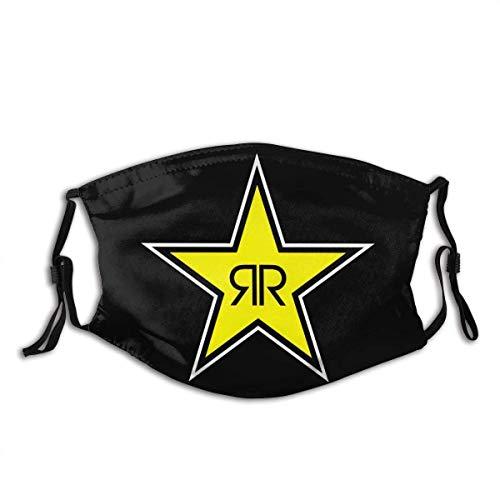 Rockstar Energy Drink Logo Face Bandanas Schal mit 2 Filtern Leicht Winddicht Atmungsaktiv Angeln Wandern Laufen Radfahren
