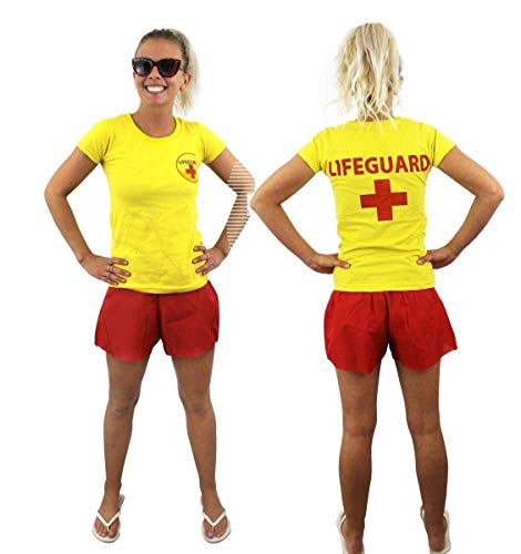 I LOVE FANCY DRESS LTD Frauen LEBENRETTER KOSTÜM VERKLEIDUNG=ROTES Tshirt+ROTE Shorts =Sommer Pool Party ODER Strand=Fasching SEXY -XSmall