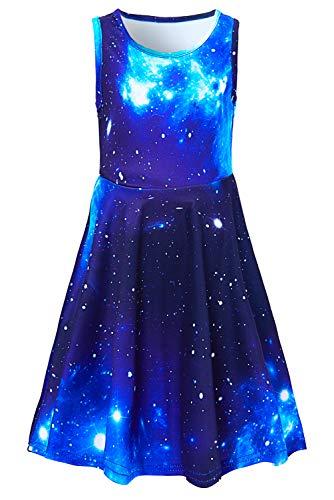 Adicreat Mädchenkleid, ärmellos, Rundhalsausschnitt, niedlich, lässig, bedruckt, Partykleid, Sommerkleid Gr. 6-7 Jahre, Galaxy 2