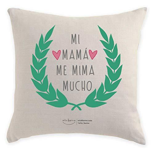 srta. borns Cojín Regalo Día de la Madre - Mi mamá me Mima Mucho (40x40 cm)