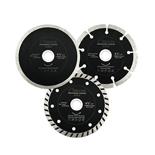 SHDIATOOL Disco Tronzador de Diamante 1 Paquete / 3 Piezas 115mm Hoja de Sierra para Azulejos Cerámica Granito Mármol