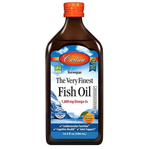 Carlson - The Very Finest Fish Oil, 1600 mg Omega-3s, Liquid Fish Oil Supplement, Norwegian Fish Oil, Wild-Caught, Sustainably Sourced Fish Oil Liquid, Orange, 16.9 Fl Oz