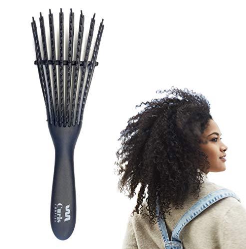 CurlsConfess - Cepillo para desenredar y definir pelo rizado y pelo afro - Peine desenredante antitirones - Desenreda rizos 3a-4c - Ez Curly Detangler para tu cabello rizado - Cepillo D-Tangle - Flex
