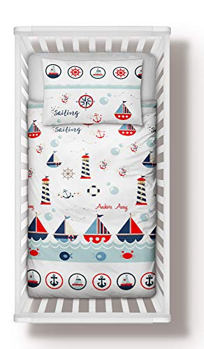Duvet Cover + Pillowcase 100 cm x 135 cm Bedding Set Sailing Boats to fit cot Bed 70x140 cm (100x135 cm)