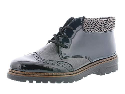 Rieker Damen Stiefeletten 54839, Frauen Schnürstiefelette, leger Stiefel Chukka Boot halbstiefel,schwarz,40 EU / 6.5 UK