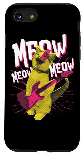 iPhone SE (2020) / 7 / 8 Punk rock star cat with e-guitar Design Case