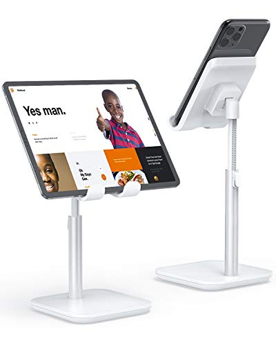 Cell Phone Stand, YIKA iPad Tablet Stand Holder for Desk - Phone Holder with Adjustable Height, Angle Compatible with All 4~11in Mobile Phones, Kindle, Tablet, iPad, Switch (White)