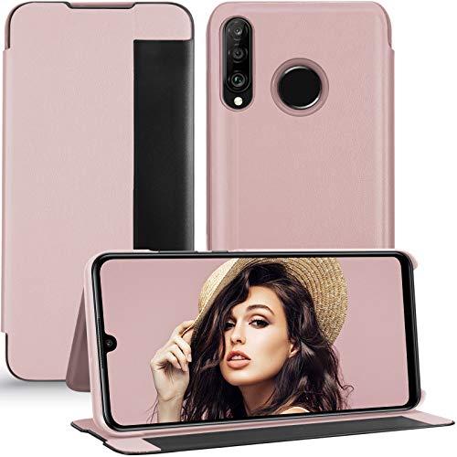 P30 Lite Hülle Kompatibel mit Huawei P30 Lite Handyhülle Clear View Cover 360 Full Body Premium Leder Flip Case Schutzhülle für Huawei P30 Lite Phone Case