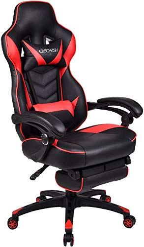 Office Racing Video Gaming Chair Ergonomic Swivel PU Leather Bucket Seat High Back Chair Footrest Padding Lumbar Support Headrest, Red