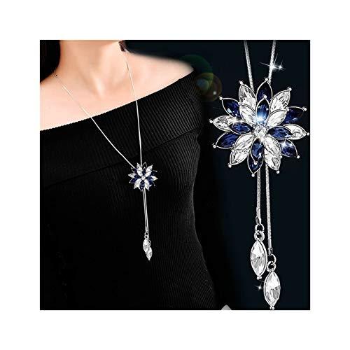 QMDSH - Collar largo de perlas de imitación (color metálico: 3 blanco azul)