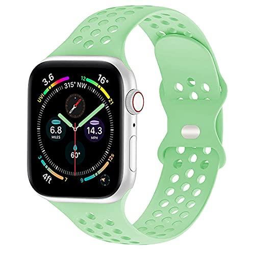 TopPerfekt Correa Compatible con Apple Watch de 42 mm y 44 mm, Correa de Silicona Suave, Transpirable, Compatible con iWatch Series 6/5/4/3/2/1/SE (42/44mm, Verde Menta)