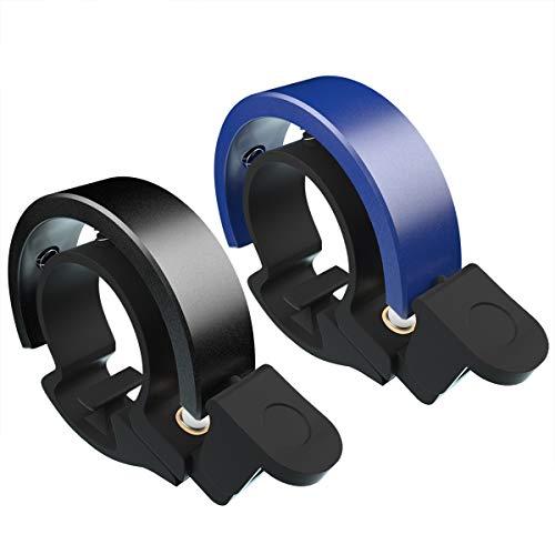 Cevikno 2 Pack Mini Fahrradklingel Fahrradlenkring Klingel Sicherheitswarnung Fahrrad Glocke laut und hell (Blau+Schwarz)