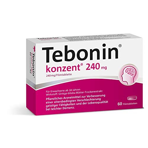 Tebonin® konzent® 240mg gegen Vergesslichkeit – Pflanzliches Arzneimittel mit Ginkgo-Spezialextrakt EGb 761(R) stärkt Gedächtnis und Konzentration – 60 Filmtabletten…