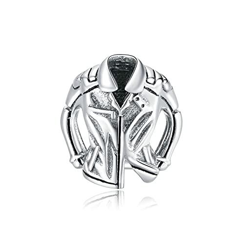 SANHUA S925 Plata Esterlina En Forma De Corazón con Cuentas Chaqueta De Motociclista Encanto Pulsera Original DIY Collar Colgante Cool Jewelryv