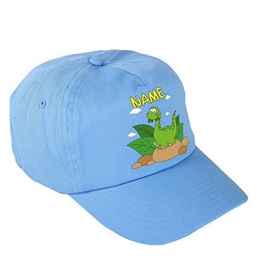 Striefchen® Blaues Dinosaurier Basecap für Jungs mit eigenem Namen