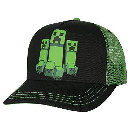 JINX Minecraft Creeper Rush Trucker Baseball Hat, Green/Black, Youth Fit