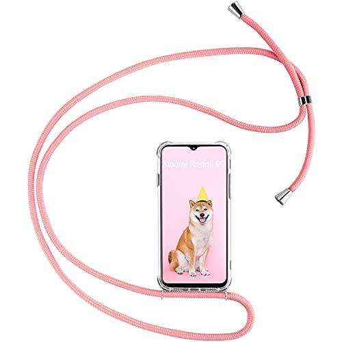 Keteen Funda con Cuerda para Xiaomi Redmi 9C Carcasa Ultrafina Transparente Suave TPU Case con Colgante Ajustable Collar Correa de Cuello Cordón Antigolpes Funda para Xiaomi Redmi 9C, Rosado