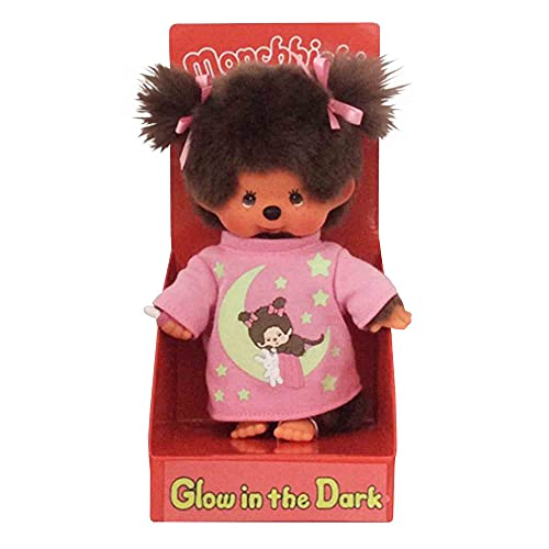 Sekiguchi 223732 - Original Monchhichi Mädchen, aus braunem Plüsch, mit rosa Schlafshirt, Glow in The Dark Elementen und Zöpfen mit Schleifen, ca. 20 cm groß