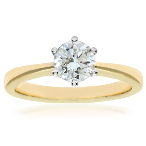 Naava GIA Certified Diamond 18ct Yellow Gold Solitaire Engagement Ring - Size K PR07910Y-G070HVS2-K