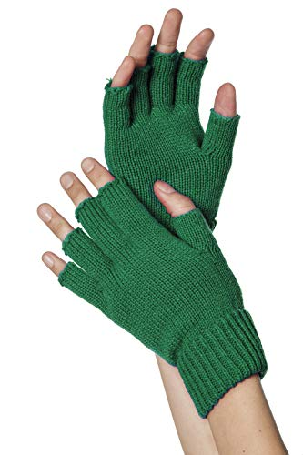 Strick-Handschuhe, fingerlos, Grün