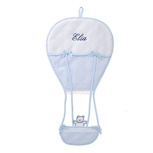 Coccole- Fiocco nascita Coccarda per nascita mongolfiera con nome personalizzato (Azzurro)