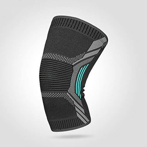 1pcs Sports Breathable warm Training Stretch Basketball Running Support Knee Pads - 101 Dark gra Cyan X L (Knee C 36-40CM)