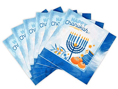 Hanukkah Napkins - 20 Pack - Hanukkah Paper Goods - Blue and White Chanukah Themed Party Supplies