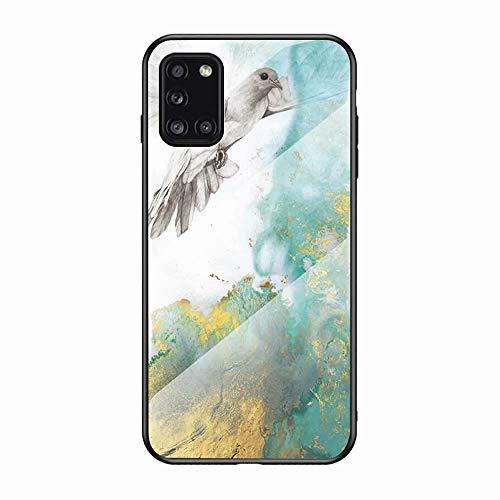 Miagon Galaxy A71 Glas Handyhülle,Marmor Serie 9H Panzerglas Rückseite mit Weicher Silikon Rahmen Kratzresistent Bumper Hülle für Samsung Galaxy A71,Taube