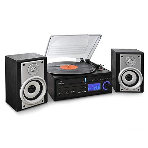 auna DS-2 Impianto Stereo HiFi con giradischi convertitore (lettore cd, MP3, USB, SD, sveglia integrata, radio FM, telecomando) - nero