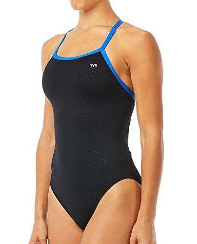 TYR Women's Hexa Diamondfit Swimsuit, Black/Blue, 34