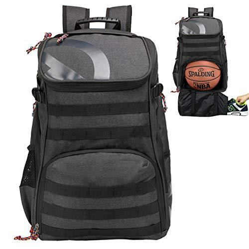 TRAILKICKER Mochila de fútbol de 35 l con bolsa para zapatos y compartimento para pelotas, mochila deportiva para baloncesto, gimnasio, fútbol y voleibol, gris carbón