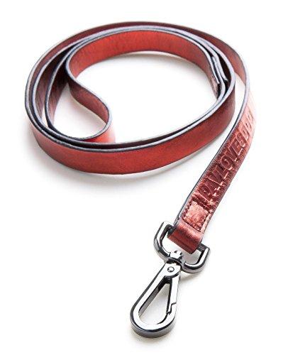 Original Lanyards® FOIL Leash Laisse en cuir véritable pour chien Rouge 120 x 1,5 cm