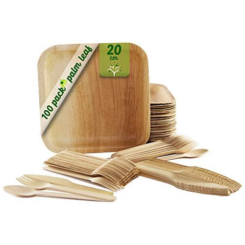 Einweggeschirr von 100 Stück, 25 quadratische Palmblattplatten von 20 cm, Birkenholzbesteck Set mit 25 Löffeln, 25 Gabeln und 25 Messern, rustikal, elegant und biologisch abbaubar