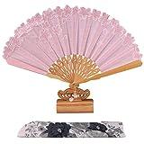 Abanicos Plegable Abanico Abanico Abanico Abanico Antiguo Abanico Asa de bambú Abanico Abanico Algodón y Lino Bordado Ventilador de Regalo Regalos (Color : Pink)