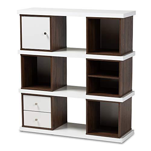 Baxton Studio Bookcases, White/Walnut