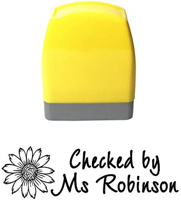Self Inking Return Teacher Review Stamp Personalized Sunflower Design Signet Homework Feedback product image