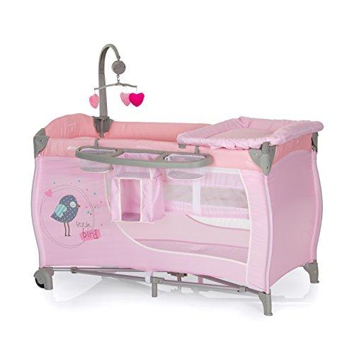 Hauck 4007923607596 Reisebett Babycenter - Birdie Grey inklusive Wickelauflage, Einhang für Neugeborene, Mobilie mit Spieluhr, Windelfach, rosa