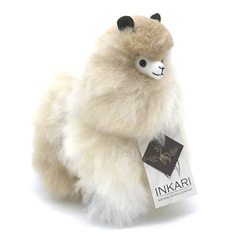 Inkari Alpaka Lama Plüschtier aus echter Alpaka Wolle, fair und nachhaltig produziert, hypoallergenes Kuscheltier (S (23cm), Sahara)