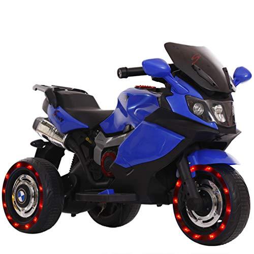 ZKHD Kindereinzelantrieb Elektrische Dreirädriges Motorrad, Können Die Menschen, Jungen Und Mädchen, Elektroautos, Babyspielzeugautos Fahren,Blau