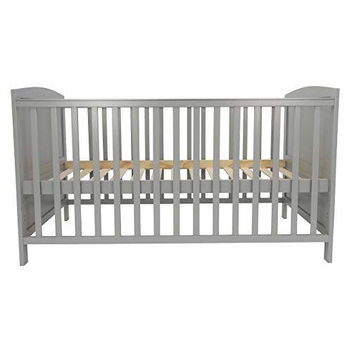 Puckdaddy Babybett Mika – 140x70 cm, Umbau-Bett aus Holz in Grau, höhenverstellbares Gitterbett mit herausnehmbaren Sprossen, auch zum Kinderbett umbaubar