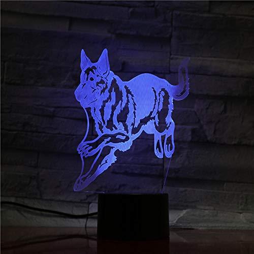 Luzes de ilusão 3D, luzes de anime para meninos e meninas, luz noturna de LED, lobo, animal, 7 cores, mudança de cor, luminária de mesa USB sensível ao toque, presente de aniversário, luz noturna para decoração de casa HOICHAN Weiej