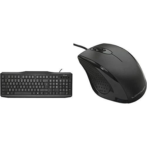 Trust ClassicLine Tastatur (spritzwassergeschützt, leiser Tastenanschlag, USB, QWERTZ, deutsches Tastaturlayout) schwarz & LC Power M710B Scroll-Rad, PC-Maus, PC/Mac, 2-Wege