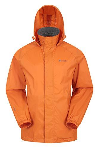 Mountain Warehouse Pakka wasserdichte Herren Jacke zusammenfaltbare Regenjacke Windjacke Kapuze Tragebeutel Camping Outdoor, Frühling Gebranntes Orange XS