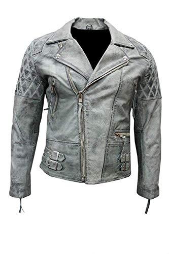 Damen Motorradjacke im Highway-Stil, Echtleder, Grau Gr. XXXX-Large, Grau