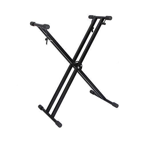 AKOZLIN キーボードスタンド X型 折りたたみ Keyboard Stand 7段階30-96cm高さ調整可能 電子キーボード用ダブルレッグ 折畳み式の電子ピアノスタンド X-Form double 54/61/73/76/88鍵 ボード適用 ブラッ