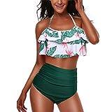 Yutdeng 2021 Traje de Baño Top Flounce Bikini Set Bañador Cintura Alta Floral Impresión Conjunto De Bikini 2 Piezas Set Moda Bohemia Cabestro