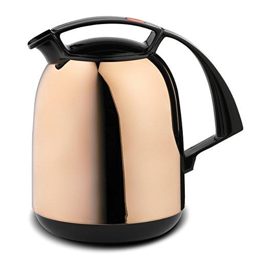 ROTPUNKT Isolierkanne 800 FAY 1,0 l   Zweifunktions-Drehverschluss   BPA-frei - gesundes Trinken   Made in Germany   Warm + Kalthaltung   Glaseinsatz   Caramel high Glossy