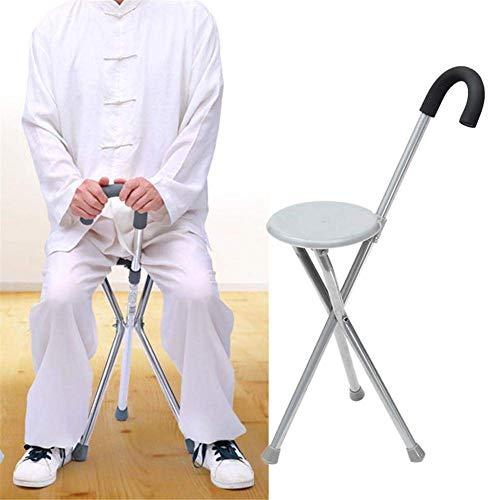 ACZZ Sillín plegable: trípode de ayuda, taburete de bastón de aleación de aluminio, asistencia médica para personas con discapacidades Sillín plegable (asiento de silla y palo) - para ancianos